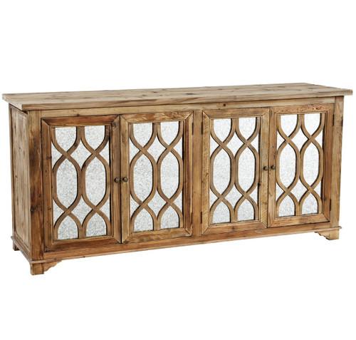 French Lattice Reclaimed Wood 4 Door Mirrored Sideboard - French Lattice Reclaimed Wood 4 Door Mirrored SideboardZin Home