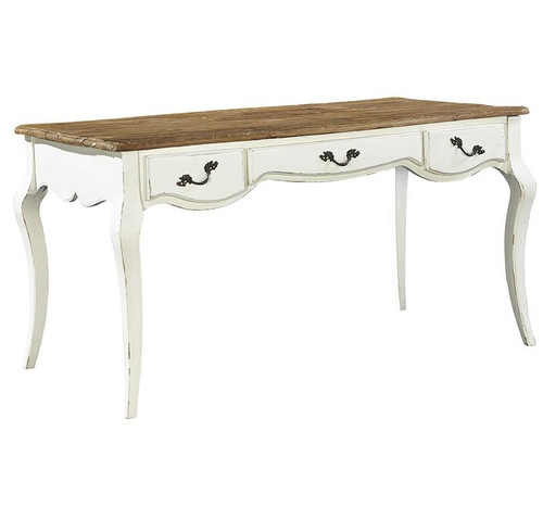 French Country Parker Antiqued White Wood Desk
