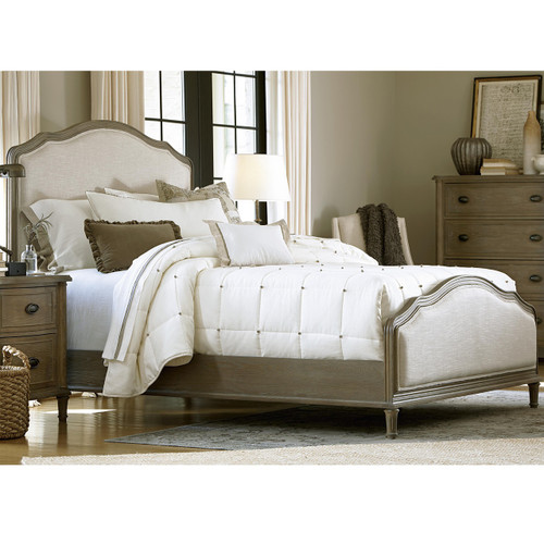 French Oak Camelback Queen Upholstered Panel Bed