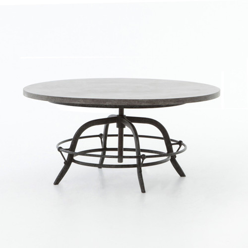 French Industrial Bluestone Top Round Crank Coffee Table Zin Home