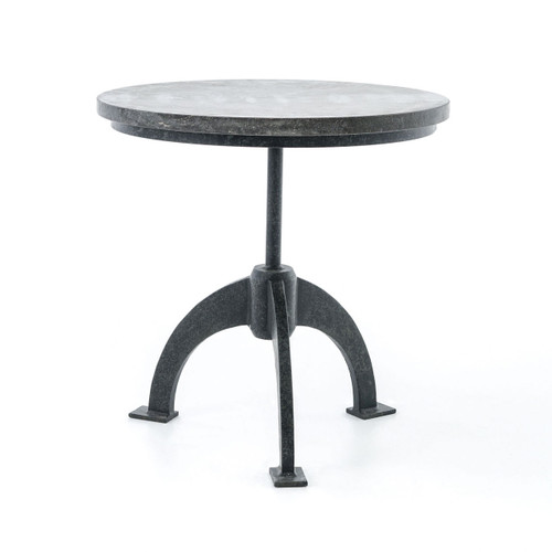 ... French Industrial Bluestone Top Round Side Table ...