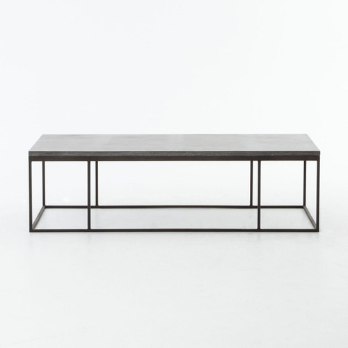 French Industrial Coffee Table: French Industrial Iron + Bluestone Top Coffee Table