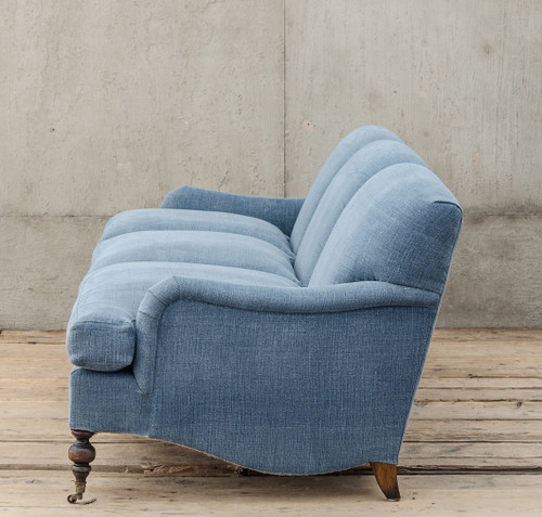 Professor Plum S Blue Linen Upholstered English Roll Arm