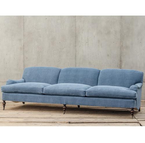 Professor Plum's Blue Linen Upholstered English Roll Arm Sofa