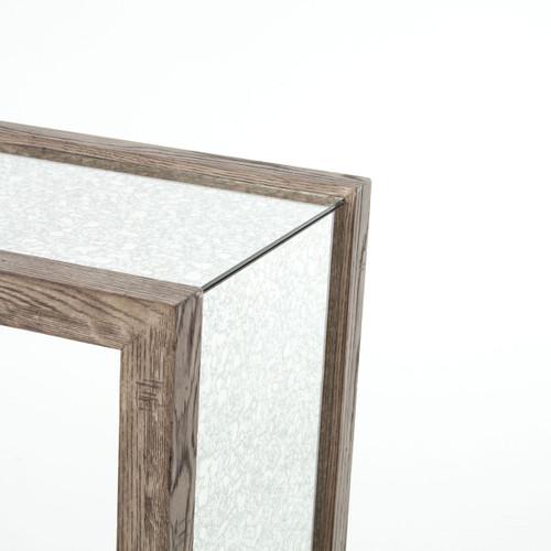 ... Hollywood Regency Grey Oak + Antiqued Mirror Hallway Table