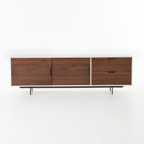 Modern White Large Media Console With Sliding Doors Zin Home