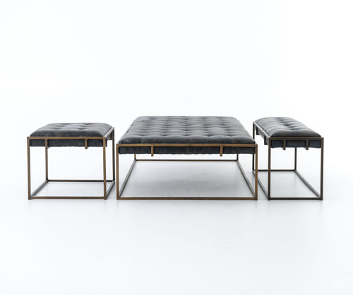 Oxford Tufted Black Leather Ottoman Coffee Table Sale