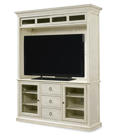 ... Country-Chic Maple Wood White entertainment hutch ... - Country-Chic Maple Wood White TV Stand With Hutch Zin Home