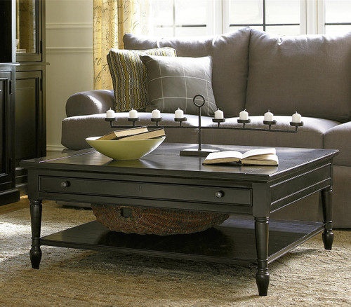 Wood For Coffee Table Top: Country-Chic Black Wood Square Coffee Table With Lift Top