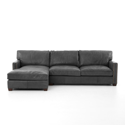 ... Larkin Vintage Black Distressed leather sectional couches ...  sc 1 st  Zin Home : black leather sectional with chaise - Sectionals, Sofas & Couches