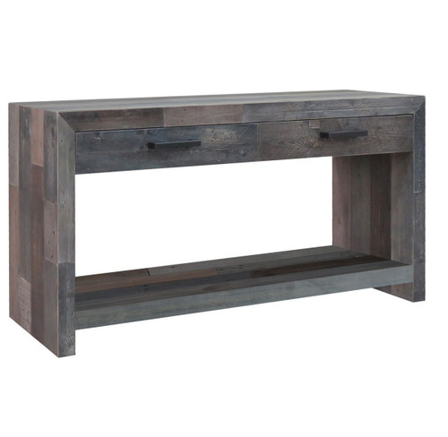 angora storm reclaimed wood 2 drawer console tables
