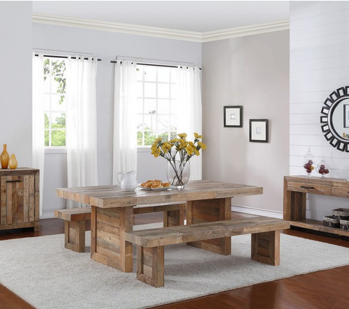 Angora Natural Reclaimed Wood Trestle Dining Table 82