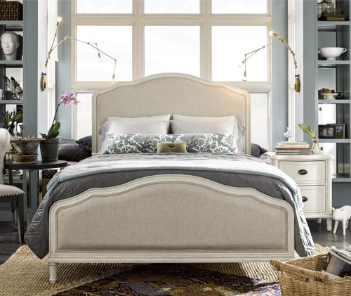 Amity French Oak Upholstered King Panel Bed - White