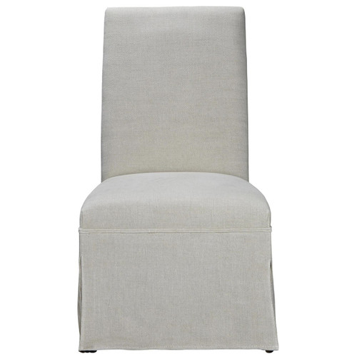 Sojourn Linen Upholstered Skirted Dining Side Chair