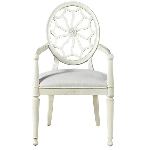 Sojourn Slip Upholstered Medallion Arm Chair - White