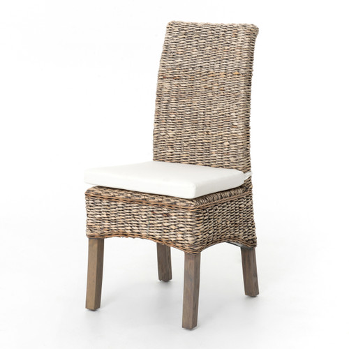 Banana Leaf Woven Dining Side Chair - Grey Wash - Wicker Bedroom Furniture Wicker, Rattan & Seagrass Furniture