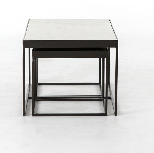Marble Coffee Table Industrial: Evelyn Industrial Iron And White Marble Nesting Coffee
