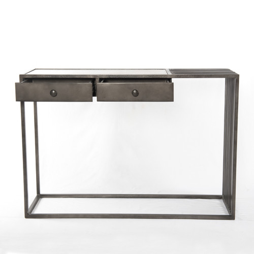 Rollins Industrial Loft Bronze Iron Console Table: Regan Industrial Iron And White Marble Console Table
