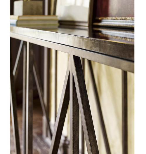 Rollins Industrial Loft Bronze Iron Console Table: French Industrial Bronze Metal Bluestone Console Table 68