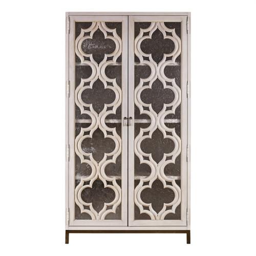 Belgian Cottage Ornate Display Storage Cabinet - Antiqued White