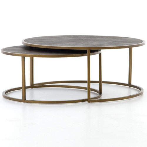Hollywood modern shagreen nesting coffee tables brass for Modern nesting coffee tables