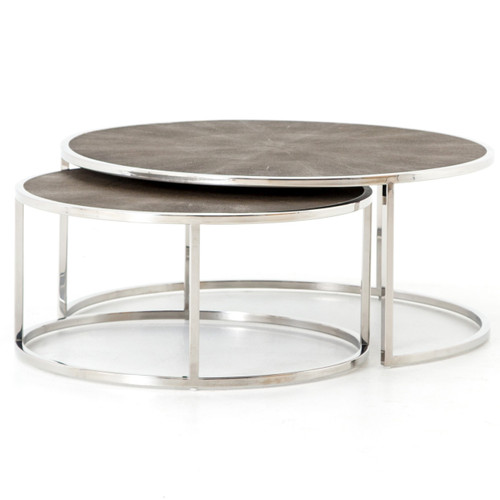 Stainless Steel Coffee Table: Hollywood Shagreen Nesting Coffee Tables
