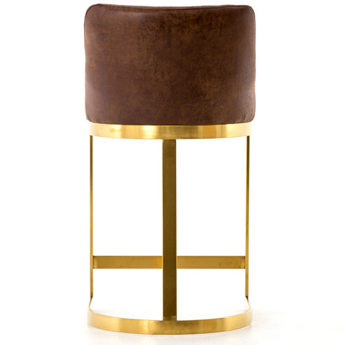 Rory Tobacco Leather Gold Counter Stool Zin Home