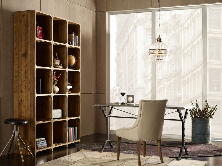 Industrial French Bistro Home Office Design