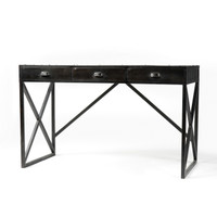 Industrial Antique Black Iron Writing Desk With 3 Drawers