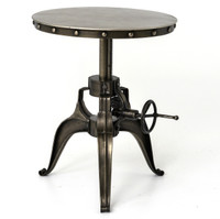 Antiqued Nickel Industrial Crank End Table 22""