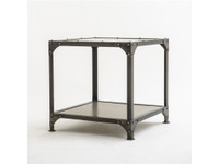 Element Industrial Metal Square End Table-Nickel