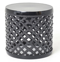 Marlow Black Drum Stool Side Table