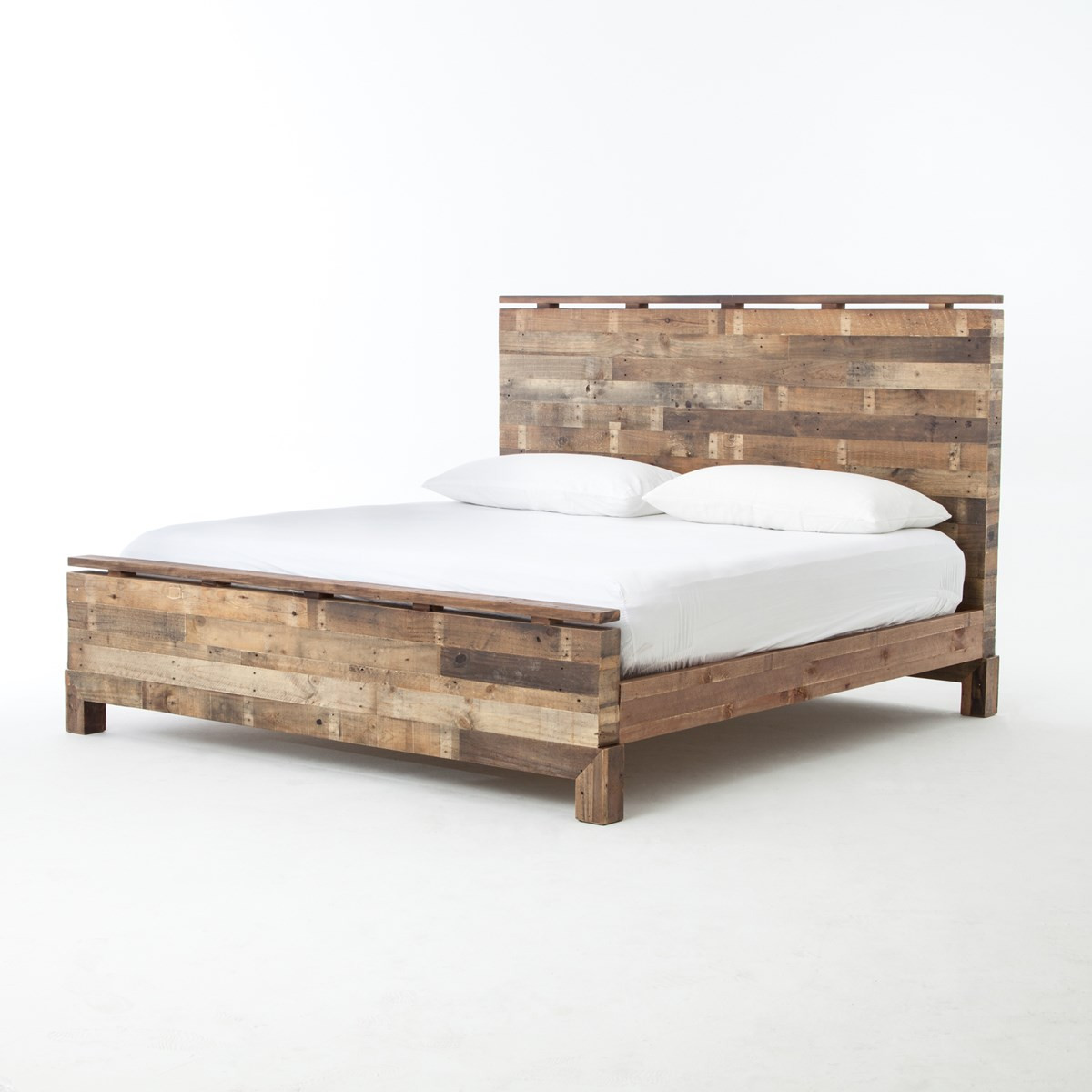 Angora rustic reclaimed wood king size platform bed zin home for Bedroom set and mattress