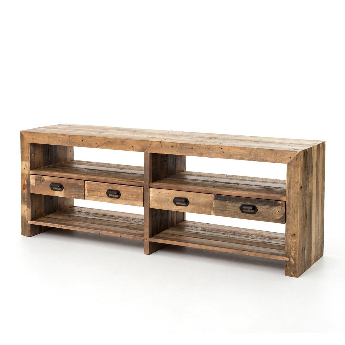 ... Angora Mariposa Reclaimed Wood Rustic Media Console ... - Angora Reclaimed Wood Rustic Media Console With Drawers Zin Home