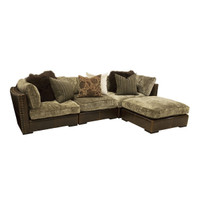 Aberdeen Chenille & Leather 4 Piece Sectional Sofa