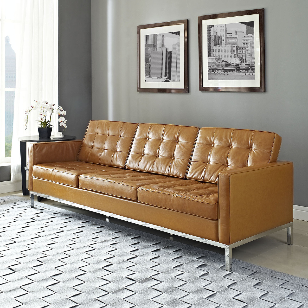 florence style leather loft sofa  zin home - tan leather