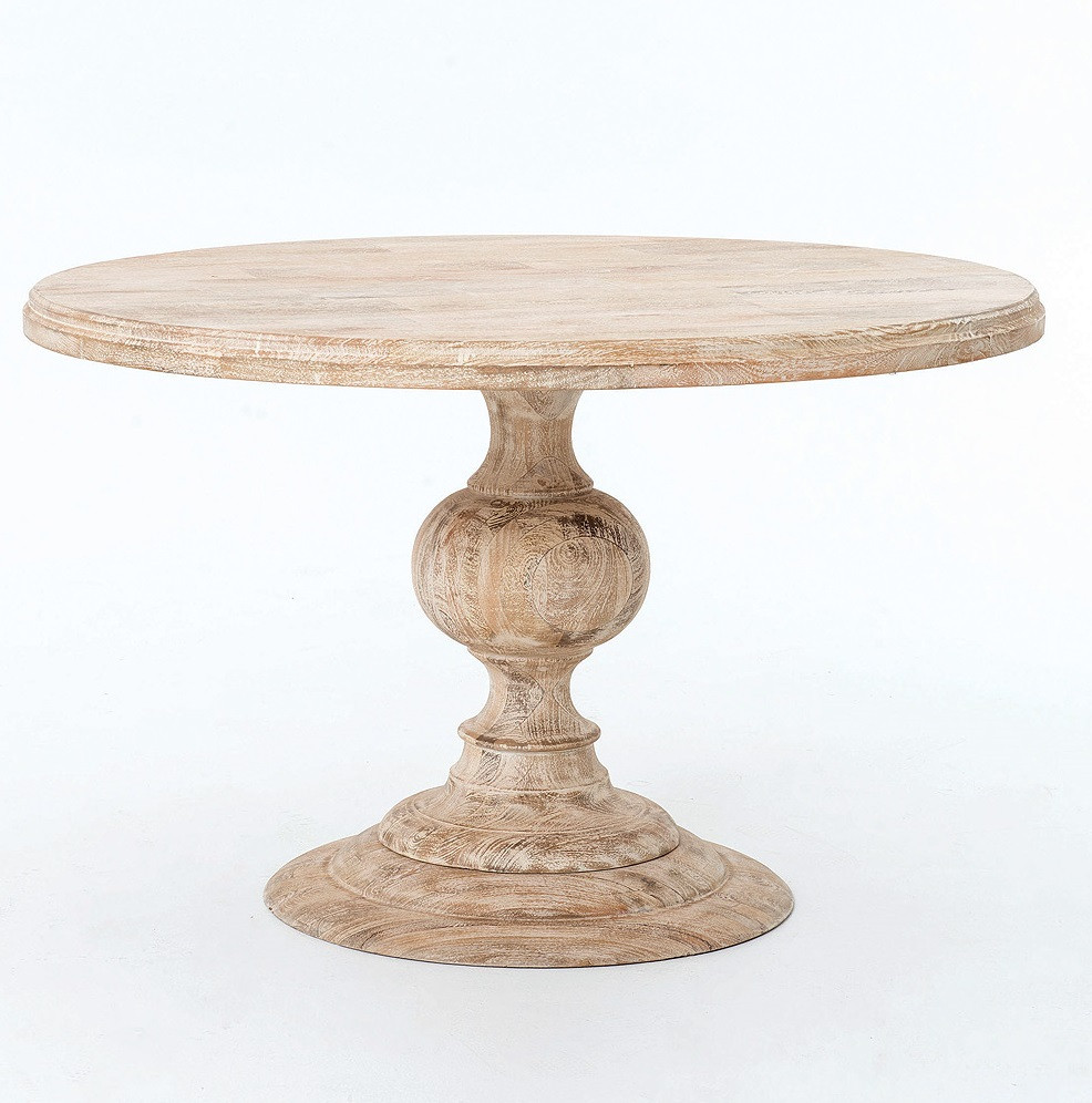 Round Pedestal Dining Table In White Wash Zin Home