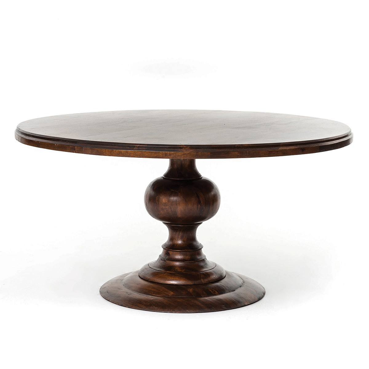 60 round pedestal dining table cocoa round kitchen tables zin home - Pedestal kitchen tables ...