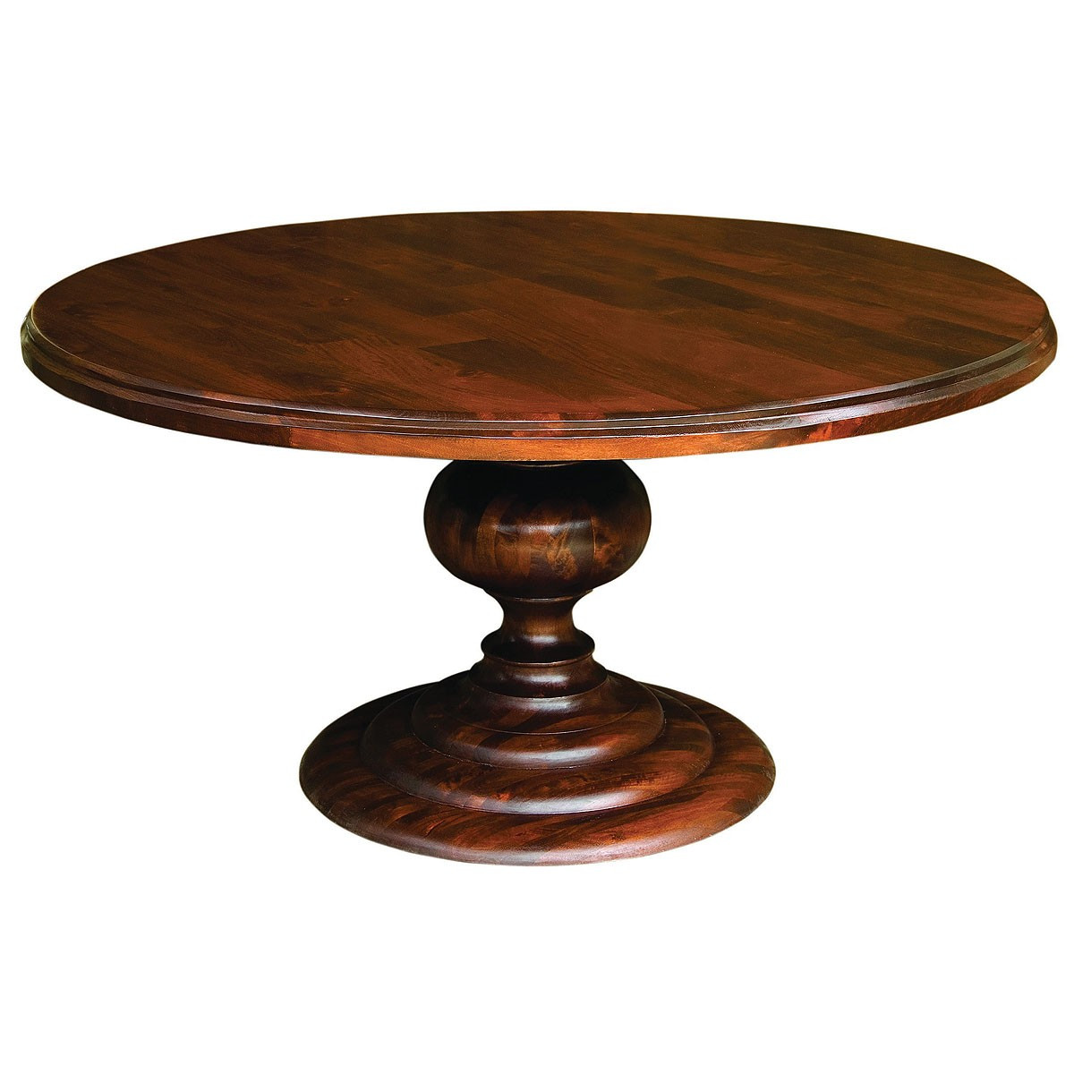"60"" Round Pedestal Dining Table-Cocoa"