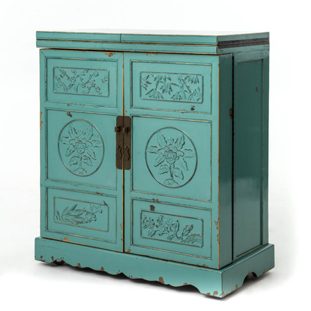 Aqua Hand Painted Elm Wood Wine Cabinet Bar Zin Home