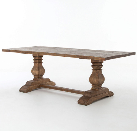 Natural rustic reclaimed wood trestle dining table 87 zin home Trestle dining table