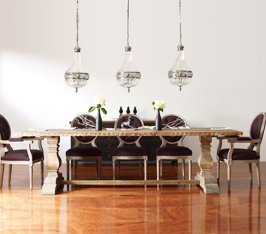 Dining Wood Table: Natural Rustic Reclaimed Wood Trestle Dining Table 110