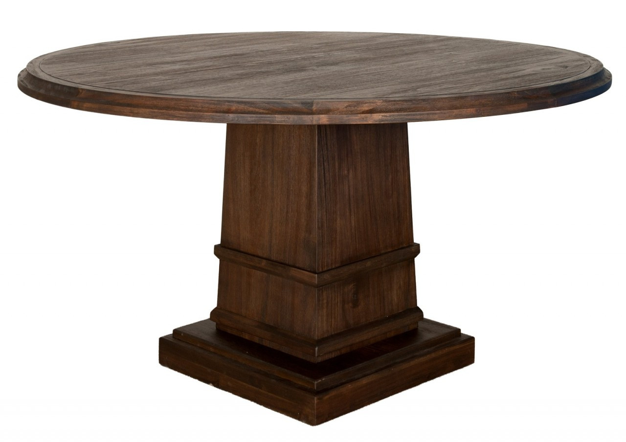 Hudson 60 round dining table with column base zin home for Dining room table 42 x 60