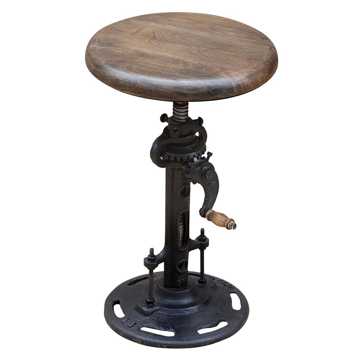Industrial Adjustable Crank Stool Zin Home