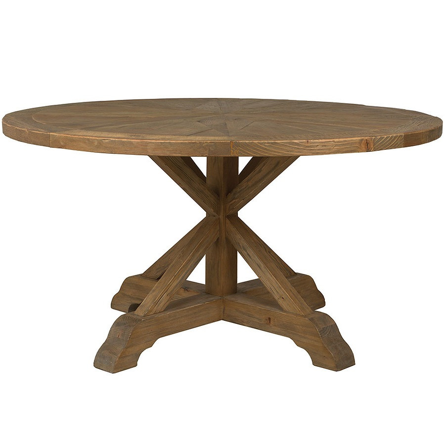 opio reclaimed wood round dining table 60 zin home. Black Bedroom Furniture Sets. Home Design Ideas