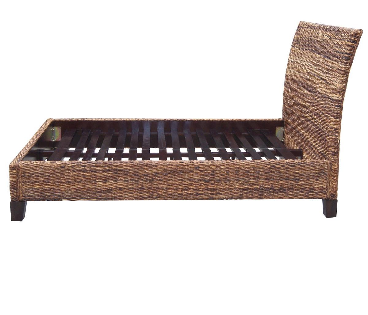lanai banana leaf woven wicker queen platform bed frame - Queen Platform Bed Frames