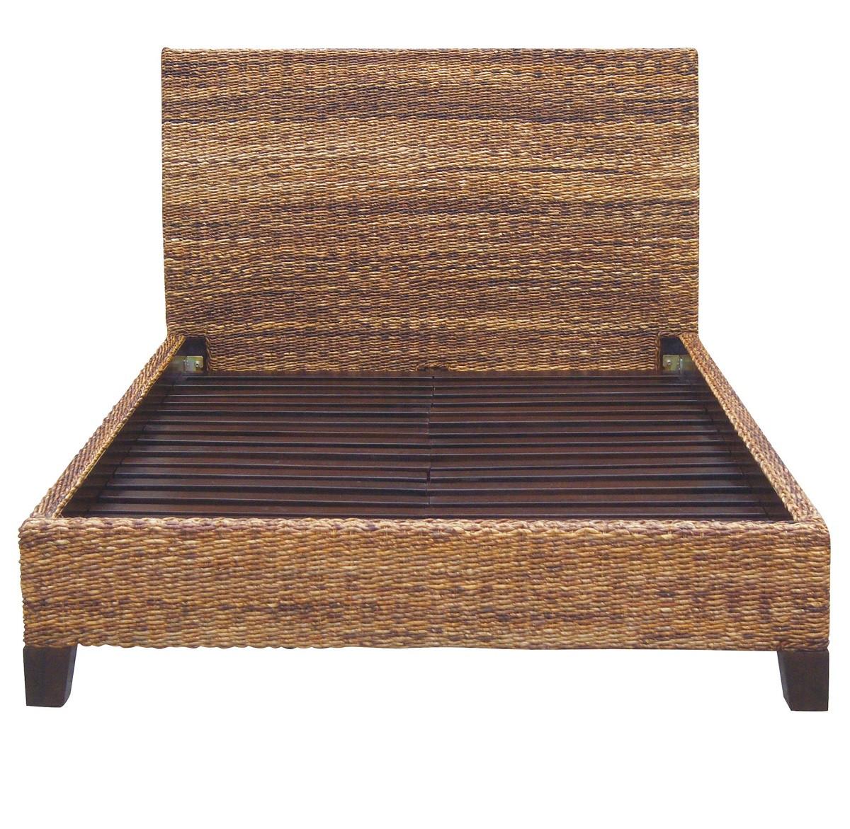lanai banana leaf woven rattan queen platform bed frame - Rattan Bed Frame
