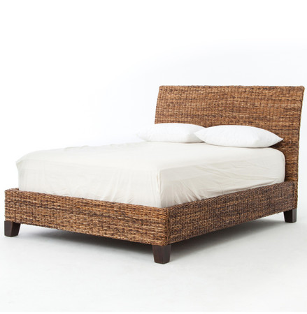 Lanai Banana Leaf Woven Wicker Queen Platform Bed Zin Home