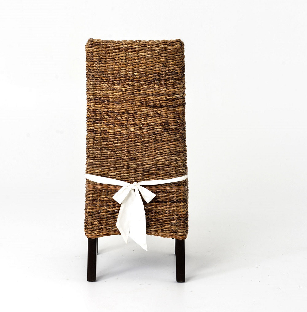 Banana Leaf Woven Side Chair With Cushion Seagrass