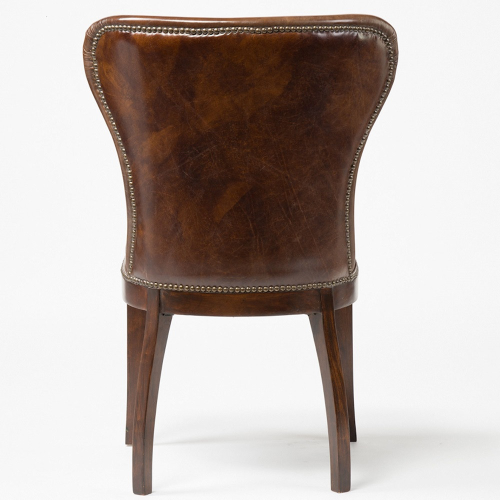 Wing back chair vintage -  Richmond Tan Leather Wingback Dining Room Chairs